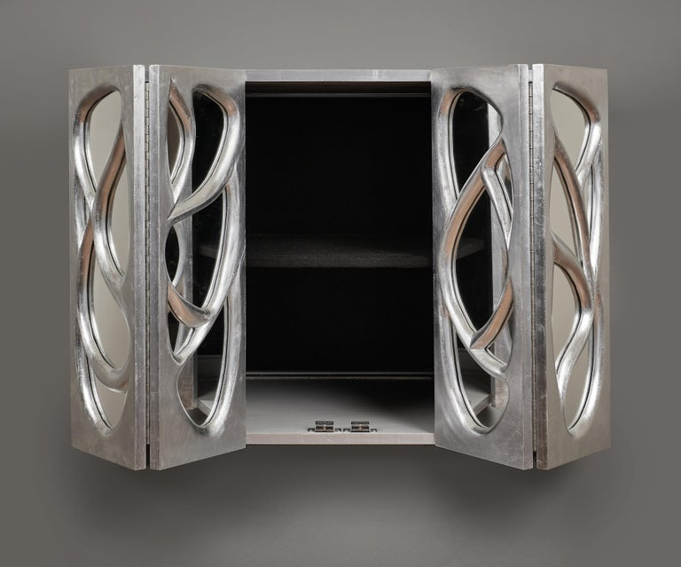 Phillip Lloyd Powell Rare Sculpted and Mirrored Wall Cabinet in Silver Leaf 1965 For Sale 8