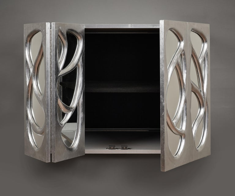 Phillip Lloyd Powell Rare Sculpted and Mirrored Wall Cabinet in Silver Leaf 1965 For Sale 9