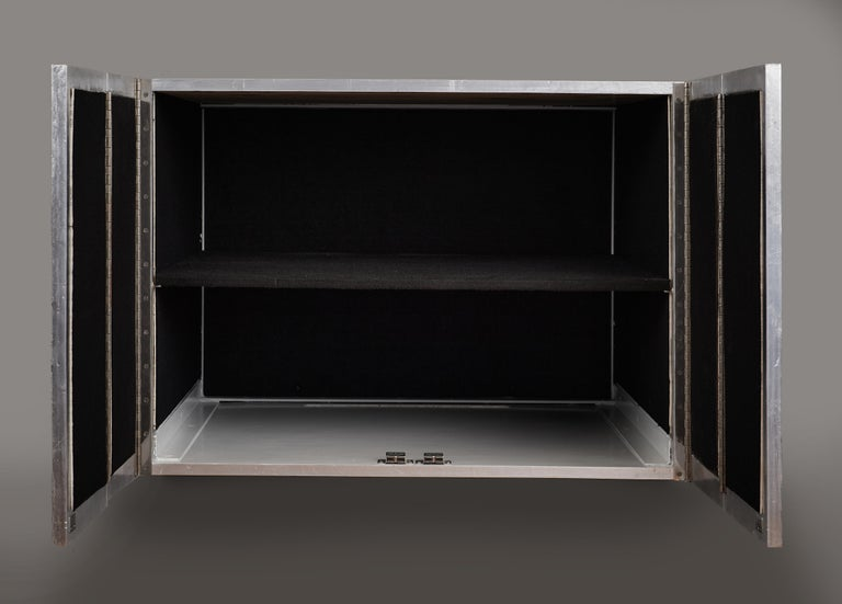 Phillip Lloyd Powell Rare Sculpted and Mirrored Wall Cabinet in Silver Leaf 1965 For Sale 10