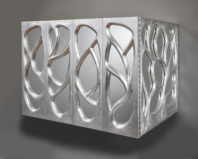 Phillip Lloyd Powell Rare Sculpted and Mirrored Wall Cabinet in Silver Leaf 1965 For Sale 11