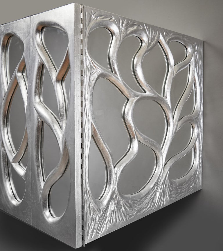 Phillip Lloyd Powell Rare Sculpted and Mirrored Wall Cabinet in Silver Leaf 1965 For Sale 12