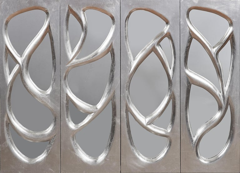 Phillip Lloyd Powell Rare Sculpted and Mirrored Wall Cabinet in Silver Leaf 1965 For Sale 13