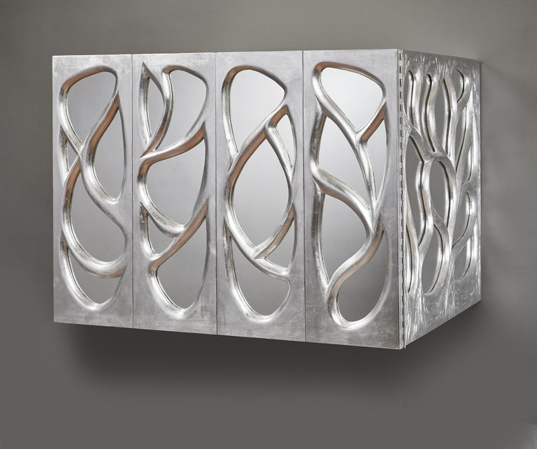 Mid-Century Modern Phillip Lloyd Powell Rare Sculpted and Mirrored Wall Cabinet in Silver Leaf 1965 For Sale