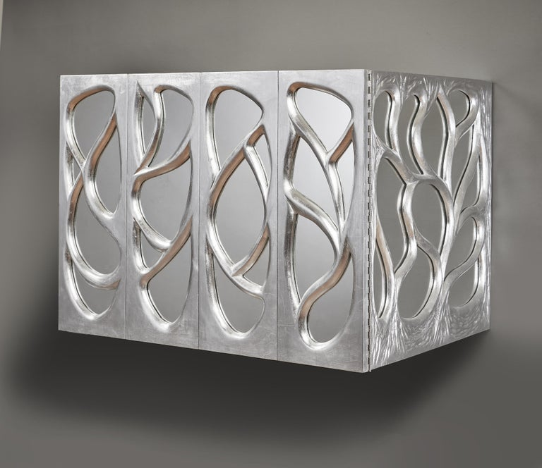 North American Phillip Lloyd Powell Rare Sculpted and Mirrored Wall Cabinet in Silver Leaf 1965 For Sale