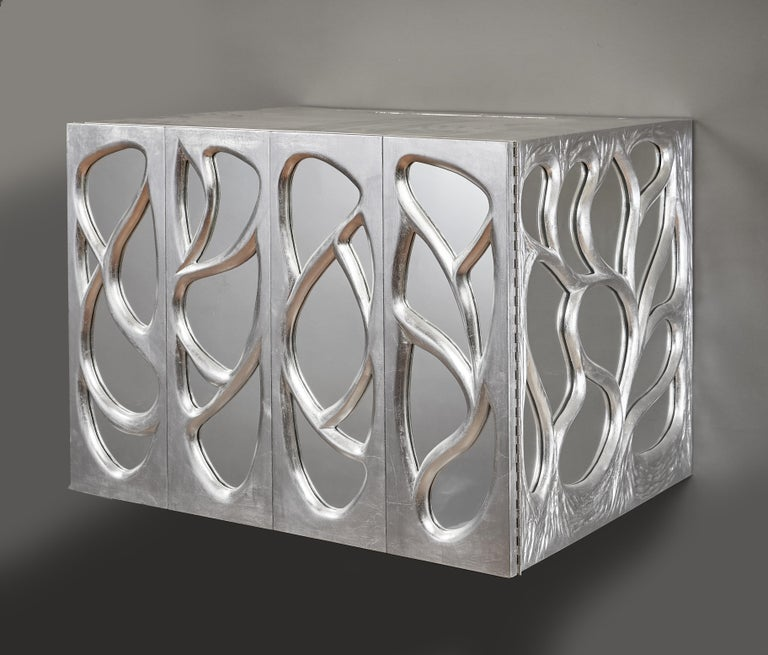 Phillip Lloyd Powell Rare Sculpted and Mirrored Wall Cabinet in Silver Leaf 1965 In Good Condition For Sale In New York, NY