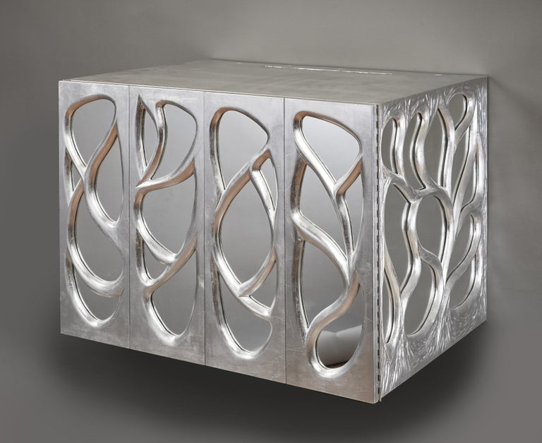 Mid-20th Century Phillip Lloyd Powell Rare Sculpted and Mirrored Wall Cabinet in Silver Leaf 1965 For Sale