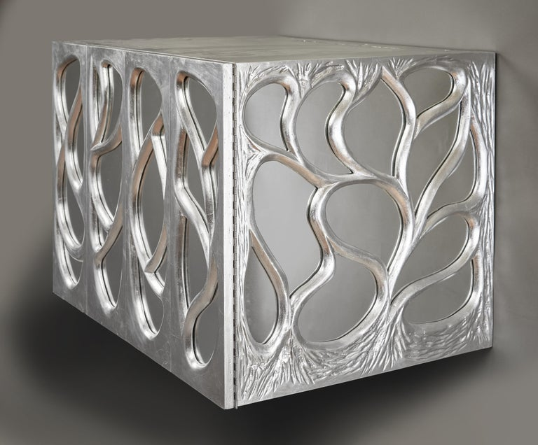 Phillip Lloyd Powell Rare Sculpted and Mirrored Wall Cabinet in Silver Leaf 1965 For Sale 1