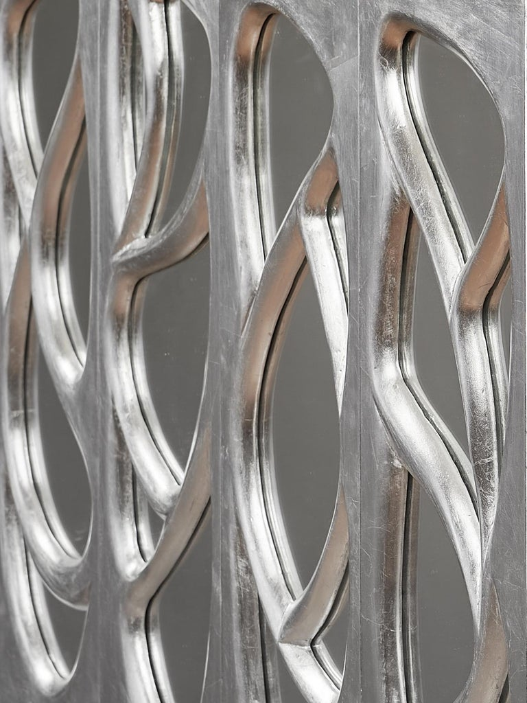 Phillip Lloyd Powell Rare Sculpted and Mirrored Wall Cabinet in Silver Leaf 1965 For Sale 3