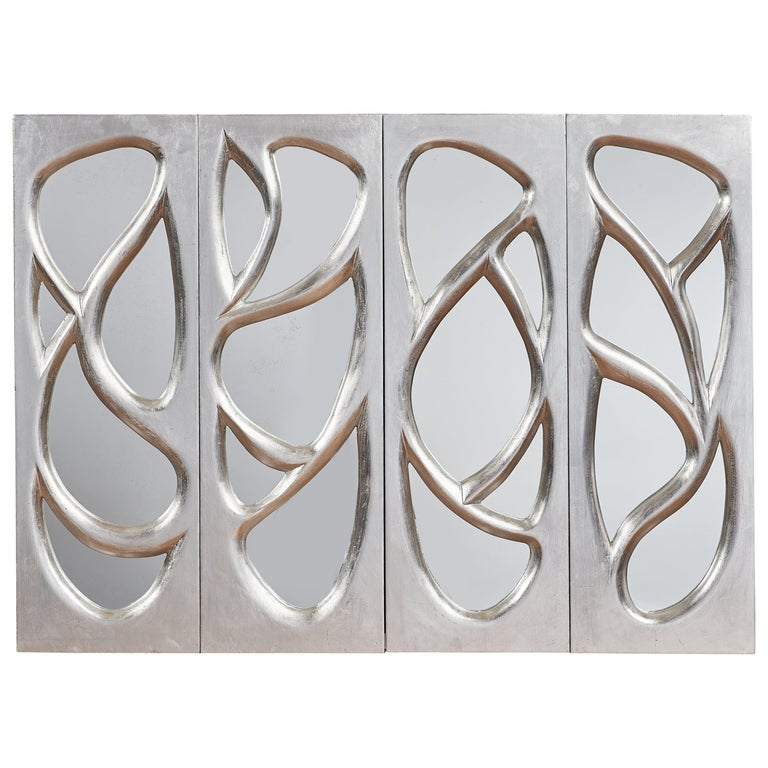Phillip Lloyd Powell Rare Sculpted and Mirrored Wall Cabinet in Silver Leaf 1965 For Sale