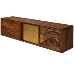 Phillip Lloyd Powell Wall-Mounted Cabinet in Walnut with Gold Leaf