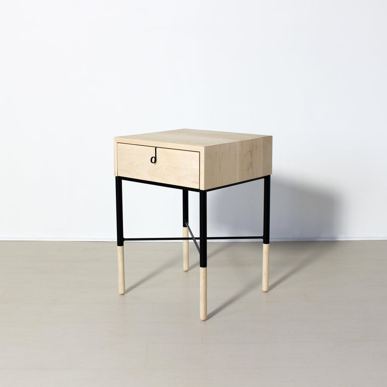 Modern Phillip Maple Side Table and Nightstand Set  For Sale