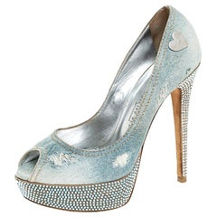 Phillip Plein Blue Crystal Distressed Denim Peep Toe Platform Pumps Size 39
