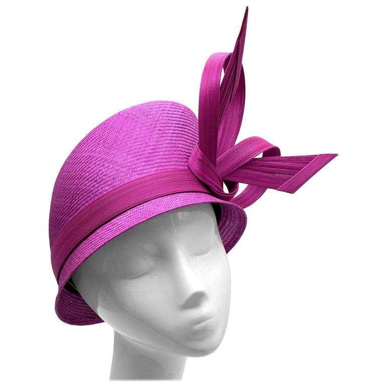 Phillip Treacy Magenta Parasisal Occasion Hat For Sale