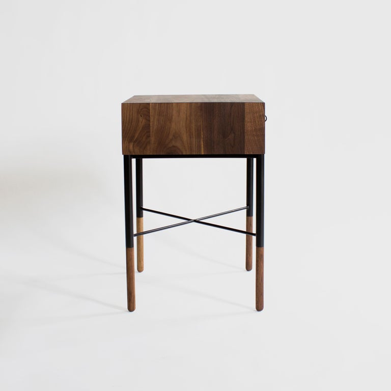 Blackened Phillip Walnut Nightstand and Side Table For Sale