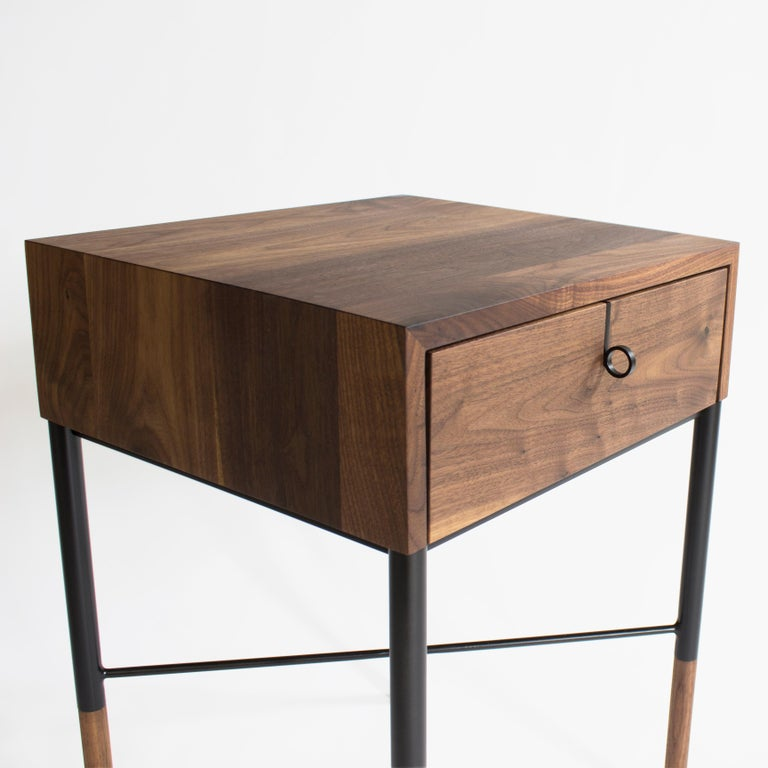 Phillip Walnut Nightstand and Side Table In New Condition For Sale In Baltimore City, MD