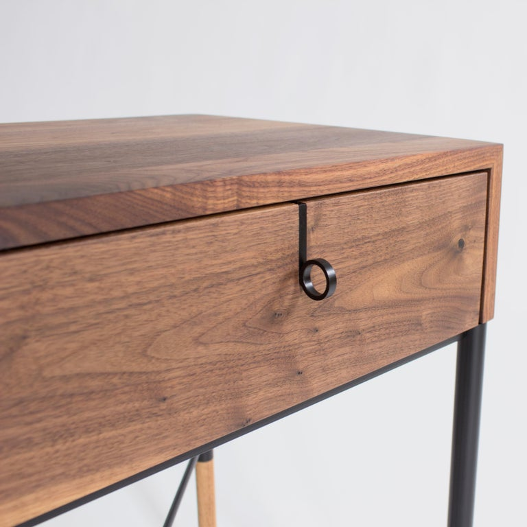 Steel Phillip Walnut Nightstand and Side Table For Sale