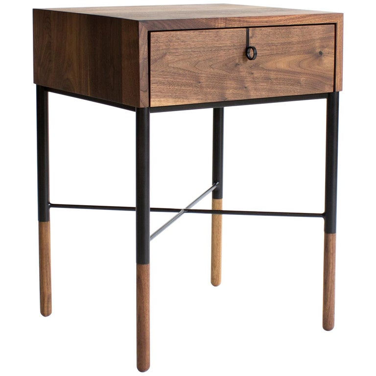 Phillip Walnut Nightstand and Side Table For Sale