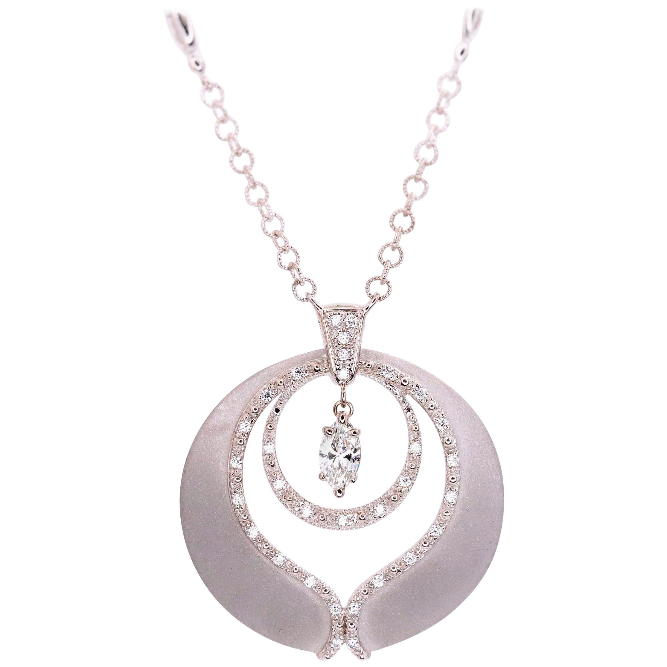 Phillipe Charriol Marquise Diamond Pendant Necklace in 18 Karat Gold 0.65 Carat