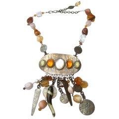 Phillipe Ferrandis Paris Glass Stone Dangling Charm Necklace c 1980s