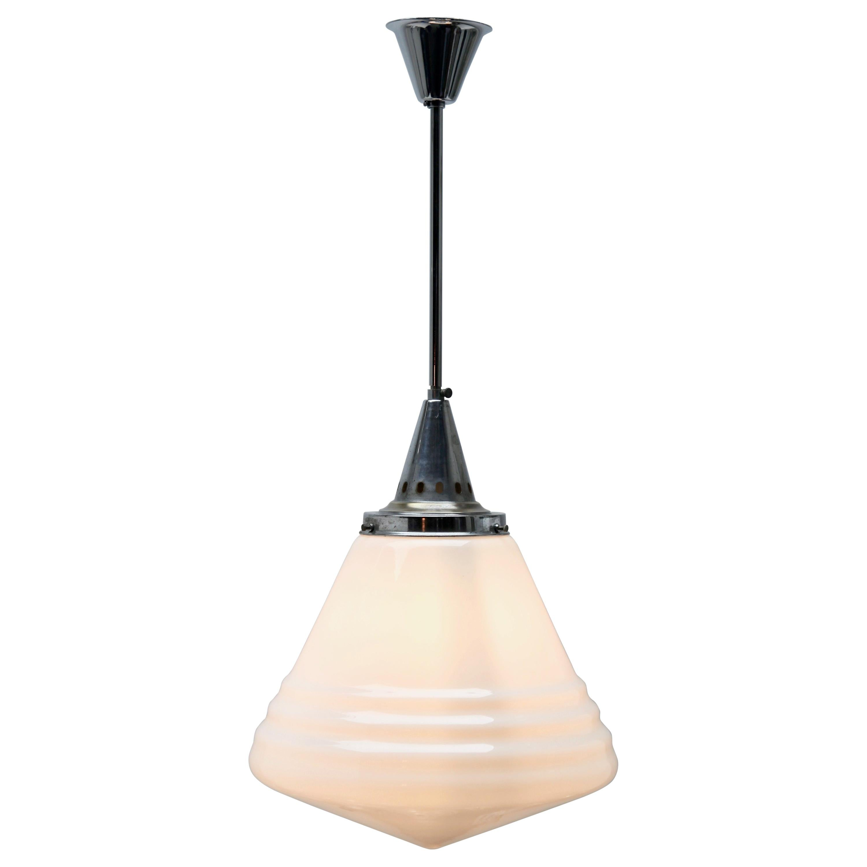 Phillips Pendant Stem Lamp with Large Stepped Opaline Shade, 1930s, Belgium