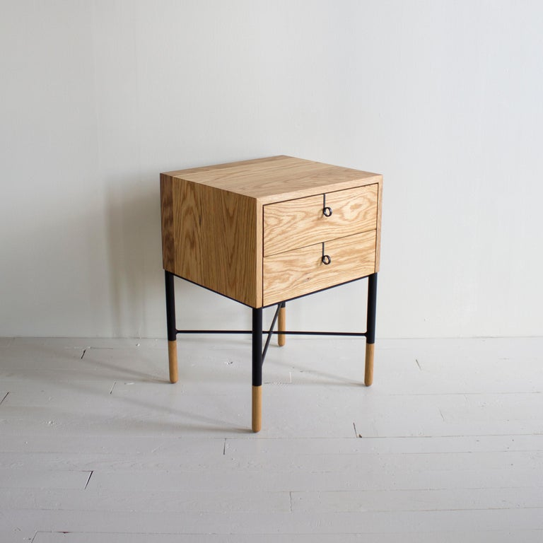 Solid wood case with continuous waterfall grain / blackened steel pulls and base / hand shaped solid wood feet / natural oil finish / premium soft close drawers / dovetailed drawer boxes   Customizations available  Wood options - Walnut, White Oak,