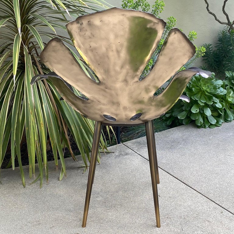 Philodendron Leaf Dinning Chair in Solid Bronze by Christopher Kreiling Studio For Sale 2