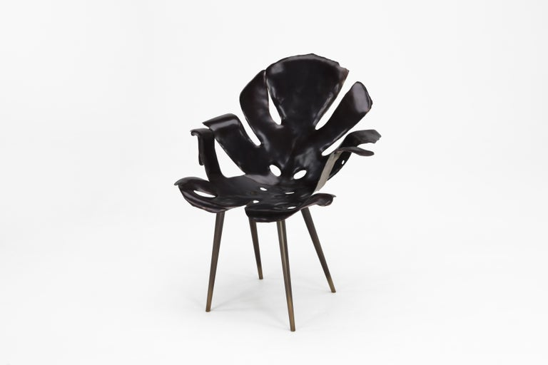 Mid-Century Modern Philodendron Leaf Dining Chair in Solid Bronze by Christopher Kreiling Studio For Sale
