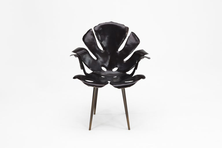American Philodendron Leaf Dining Chair in Solid Bronze by Christopher Kreiling Studio For Sale