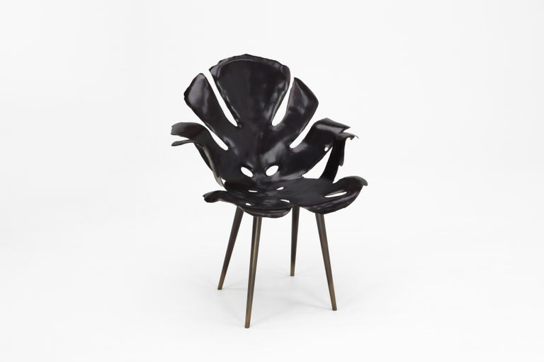 Cast Philodendron Leaf Dining Chair in Solid Bronze by Christopher Kreiling Studio For Sale
