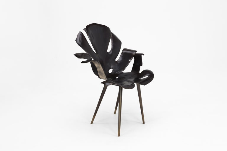 Philodendron Leaf Dining Chair in Solid Bronze by Christopher Kreiling Studio In New Condition For Sale In Pasadena, CA