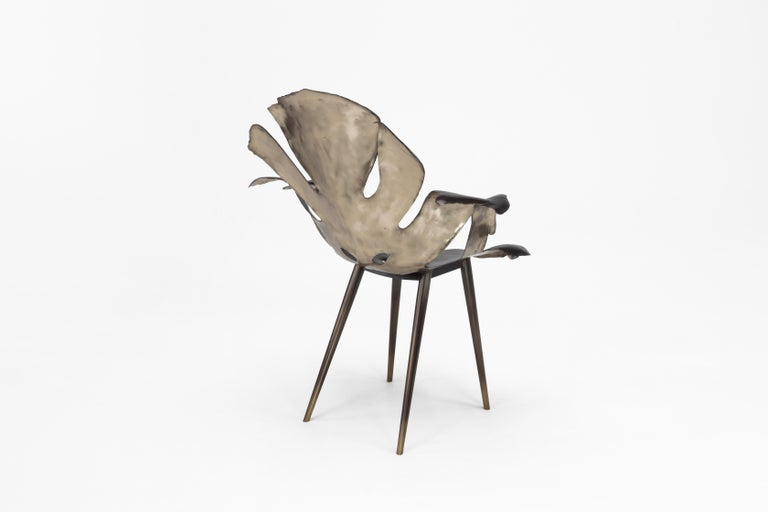 Brass Philodendron Leaf Dining Chair in Solid Bronze by Christopher Kreiling Studio For Sale