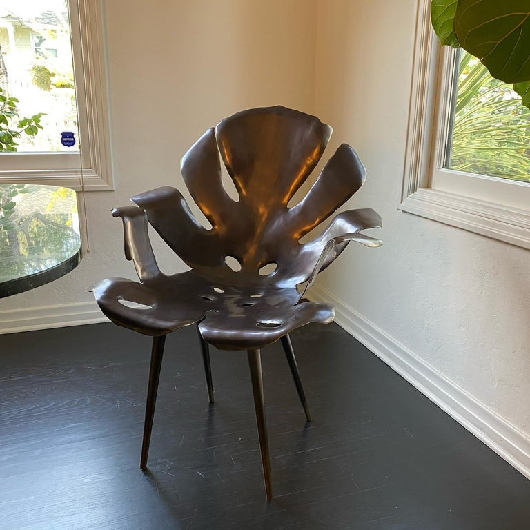 Brass Philodendron Leaf Dinning Chair in Solid Bronze by Christopher Kreiling Studio For Sale