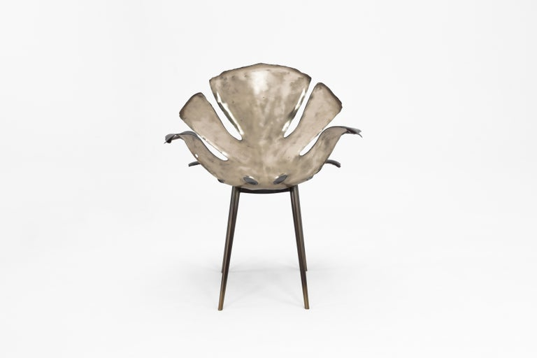 Philodendron Leaf Dining Chair in Solid Bronze by Christopher Kreiling Studio For Sale 1