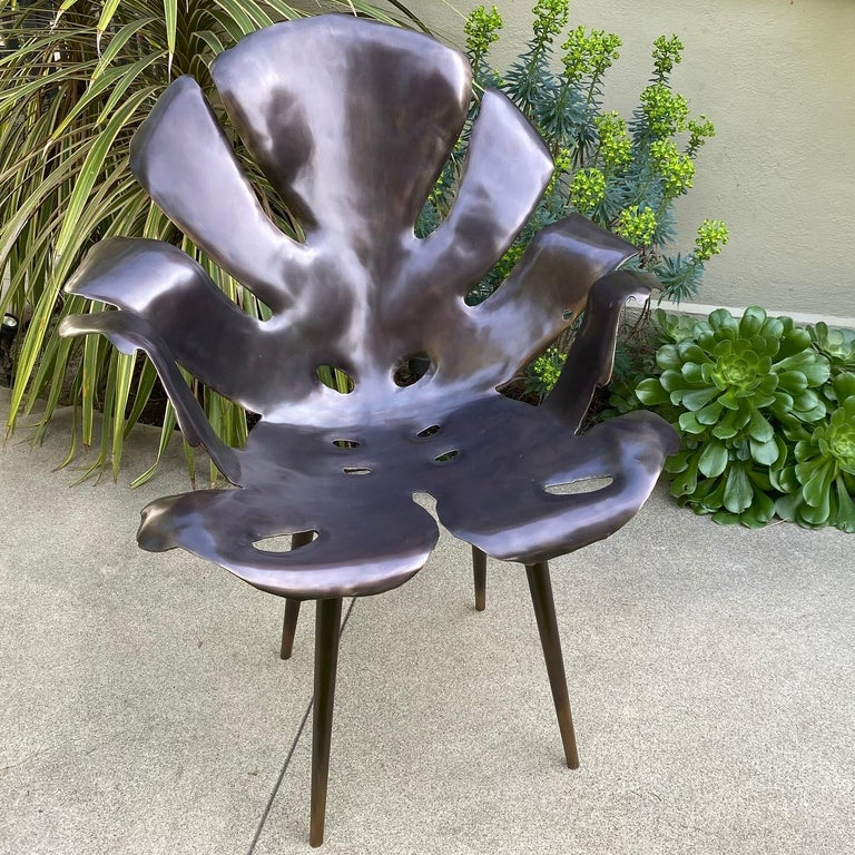 Philodendron Leaf Dinning Chair in Solid Bronze by Christopher Kreiling Studio For Sale 1