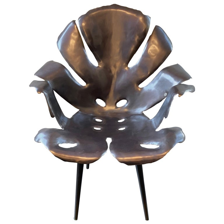 Philodendron Leaf Dinning Chair in Solid Bronze by Christopher Kreiling Studio For Sale