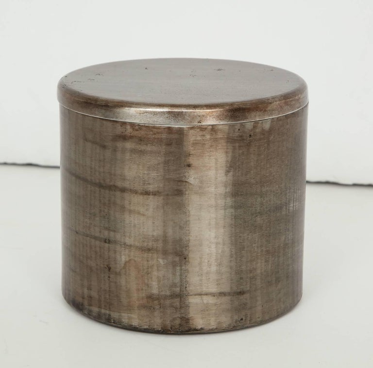 Brutalist Philolaos Hammered Steel Canister For Sale