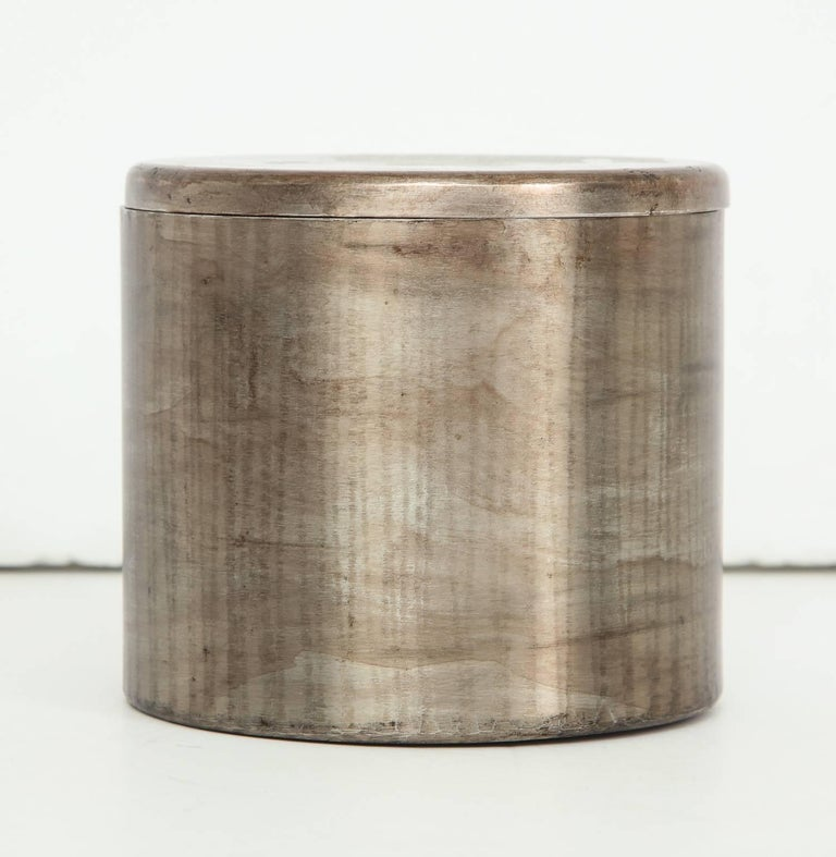 French Philolaos Hammered Steel Canister For Sale