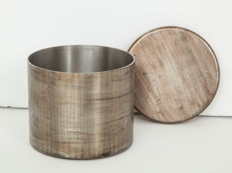 Philolaos Hammered Steel Canister In Good Condition For Sale In New York, NY