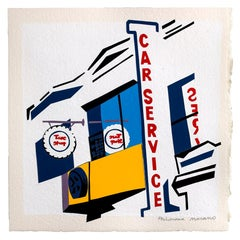Car Service, cut paper collage, urban landscape, hard edge, bold graphic, text