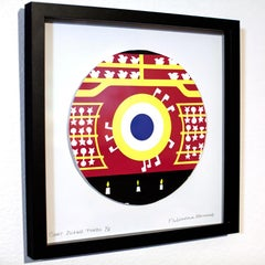Coney Island Tondo, screen print, colorful graphic shooting gallery, shadow box