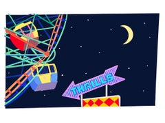 THRILLS, Coney Island wonder Wheel, night, neon sign, amusement park, colorful