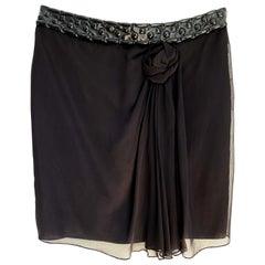 Philosophy di Alberta Ferretti embellished black silk skirt with rose - NWT