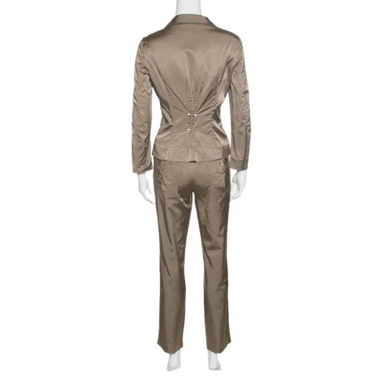 new product d6126 78658 Philosophy di Alberta Ferretti Olive Green Satin Blazer and Trouser Set M