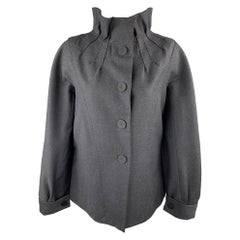 PHILOSOPHY di ALBERTA FERRETTI Size 8 Charcoal Wool High Gathered Collar Jacket