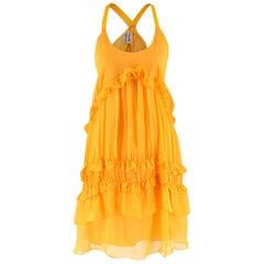 Philosophy Di Alberta Ferretti Yellow Ruffle Silk Dress UK 10