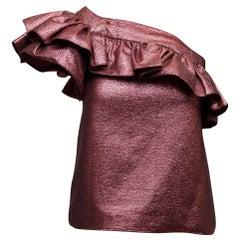 Philosophy di Lorenzo Serafini Pink Metallic One-Shoulder Top