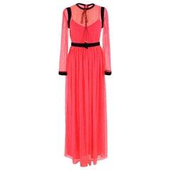 Philosophy Di Lorenzo Serafini Pink Necktie-detail Lace Maxi Dress - Size US 4