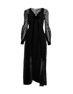 Philosophy NWT Black Long Sleeve Lace Dress w/ V-Neck Velvet Bow sz 8