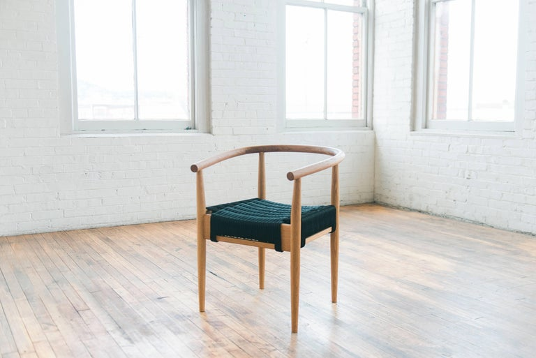 Turned Phloem Studio Captains Chair, Modern Walnut and Rope Woven Seat Armchair For Sale
