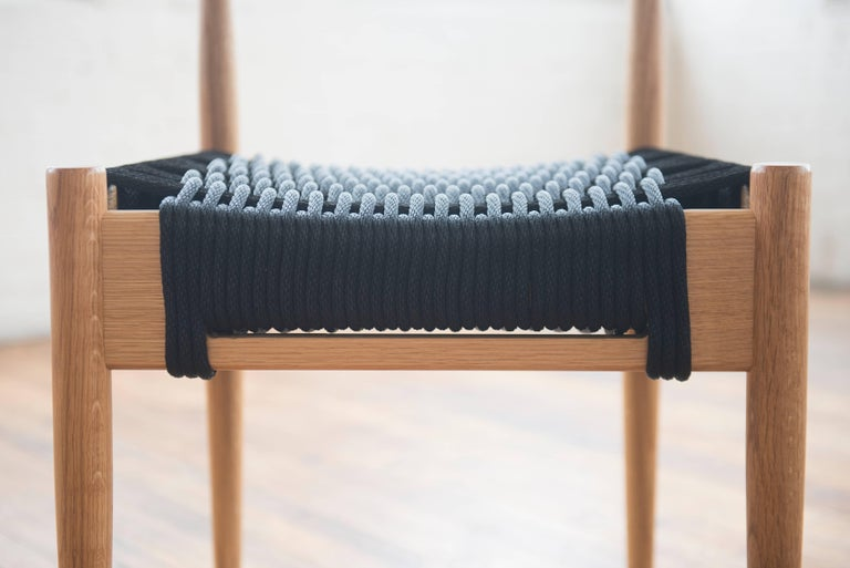 American Phloem Studio Harbor Chair, Handmade Modern White Oak and Rope Woven Seat Chair For Sale